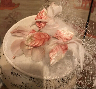 Vintage Fascinator With Feathers, Tulle, Velvet Pink Leaves And Silk Petals • 4.50£