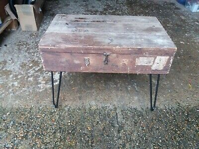 Upcycled Carpenters Tool Box Industrial Style Hairpin Legs Coffee/Side Table • 29.99£