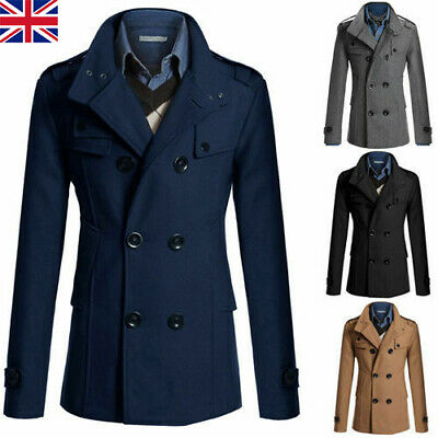 £22.41 • Buy Mens Winter Trench Coat Double Breasted Warm Tops Jacket Formal Overcoat Outwear