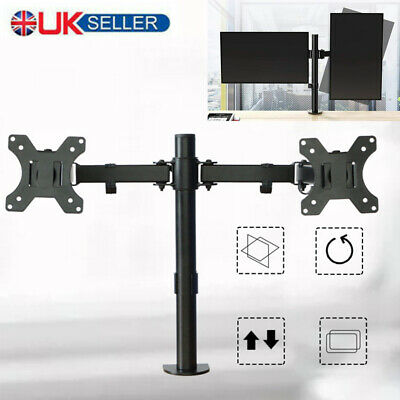 13 -27  Double Dual Display Computer Screen Monitor Arm Mount Desk Stand LED New • 22.99£