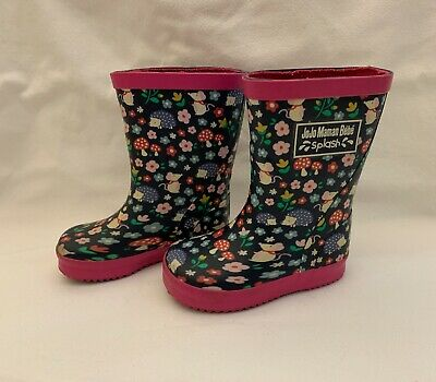 JoJo Maman Bebe Splash Wellies Hedgehog And Flowers Size 5 • 4.20£