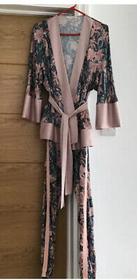 Ladies Italian Made Pink Printed Trouser Suit Perfect Wedding Outfit Small 8/10 • 40£