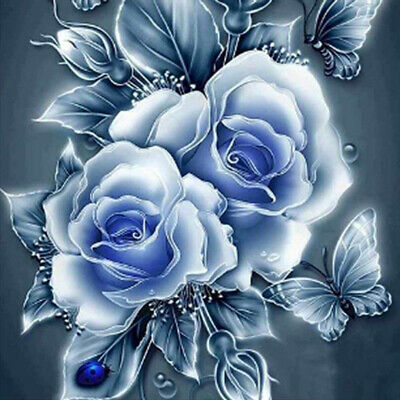 AU16.99 • Buy 5D Handicraft Diamond Painting Full Drill Blue Rose And Butterflies Gift Art Kit