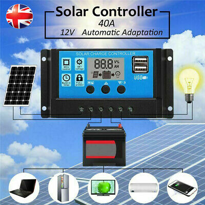 Solar Panel Battery Charge 40A Controller 12V/24V  LCD Controller Dual USB UK • 9.48£