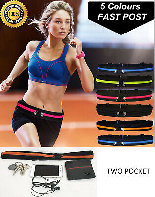 Double Pocket Running Belt Pouch For Runners Holding Your Phone And Keys Colours • 5.49£