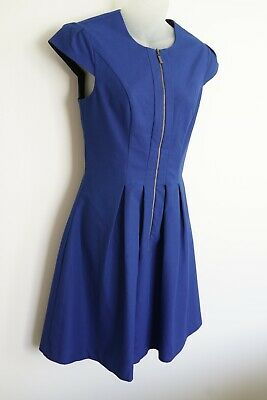AU40 • Buy Cue In The City Blue Lined Sleeveless Front Zip Dress…size 8...vgc...