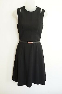 AU85 • Buy Cue Black Sleeveless Lined Belted Dress…size 8…nwts…rrp $279 Aud...