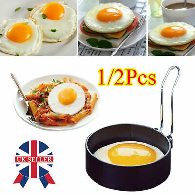 UK 1/2Pcs Metal Egg Frying Rings Non Stick Round Breakfast Fried Poacher Mould • 4.49£