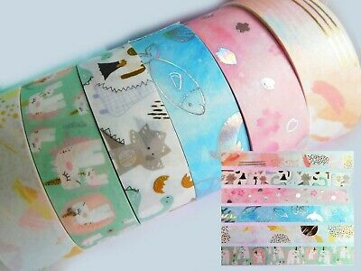 1 X Roll Decorative Washi Tape, Foil Accents, Pink, Sea, Very Pretty Masking NEW • 6.50£