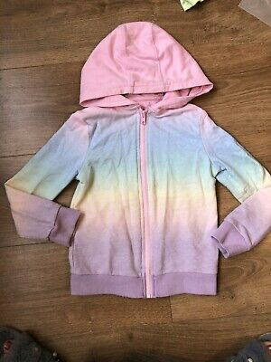 Girls Rainbow Full Zip Hoodie Jumper 6-7 Yrs F&F • 2£