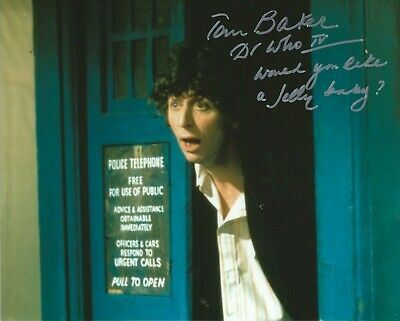 £55 • Buy Photo - Tom Baker In Person Signed Autograph - Doctor Who - UNIQUE QUOTE! - J521