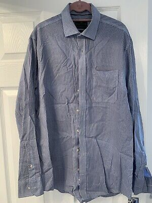 M&s--tailored Fit-cotton Blue Check Casual Shirt--15.5 Collar-~ex Con • 0.99£