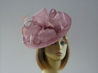 Handmade Dusky Pink Sinamay Feather Fascinator Hatinator Wedding Races  • 29£