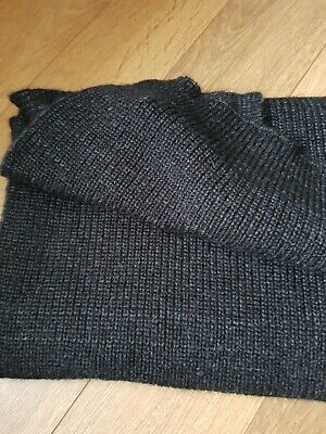 All Saints Scarf Mens Charcoal Grey Knit Luxury Wool Angora Mohair • 16£