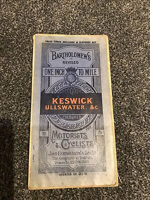 1920 Bartholomew's Map For Tourists And Cyclists - Keswick And Ullswater - Cloth • 6.25£