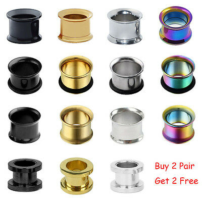 $5.99 • Buy PAIR Mix Style Surgical Steel Screw & Flared Tunnels Ear Gauge Plugs Piercing