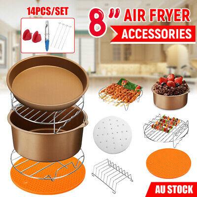 AU27.95 • Buy 8 Inch Air Fryer Accessories Frying Cage Dish Baking Pan Rack Pizza Tray Pot Set