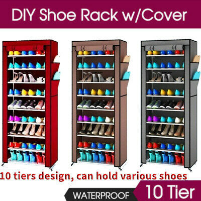 AU10.99 • Buy 27 Pairs Shoe Rack Shelf 10 Tier Cabinet Cover Storage Organiser Stand 3 Colors
