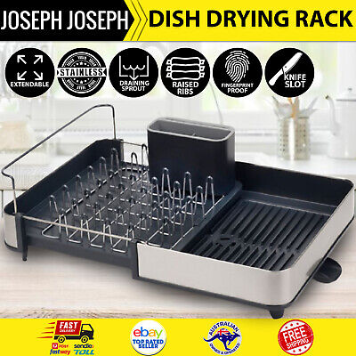 AU144.97 • Buy NEW Joseph Joseph Expandable Extend Dish Drying Rack Cutlery Drainer Spout Grey
