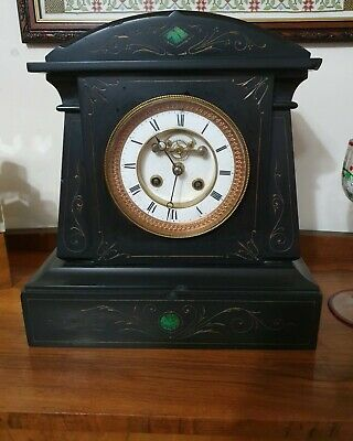 Antique French Black Slate & Marble Mantel Clock With Green Inlay • 24.99£
