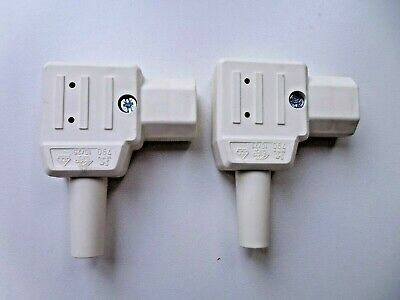 2 X Right Angled IEC C13 Rewireable Connectors Cream • 2.80£