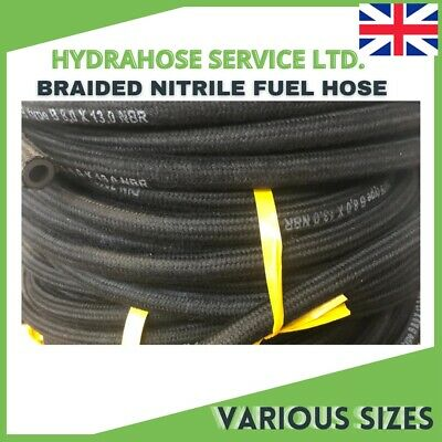 £6.17 • Buy Fuel Hose/pipe Nitrile Rubber Braided For Engines,oil, Diesel & Unleaded Fuel Uk