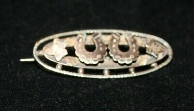 Antique Victorian Silver Horse Shoe Brooch H/M 1896 • 15£