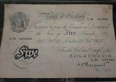 White £5. Five Pound Note. 1947. Peppiatt. L39 045865. Genuine. Nice. 12 Feb • 99.90£