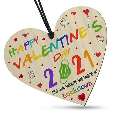 AU7.36 • Buy Valentines Day In Lockdown 2021 Colourful Wooden Heart Plaque Gift For Him Her