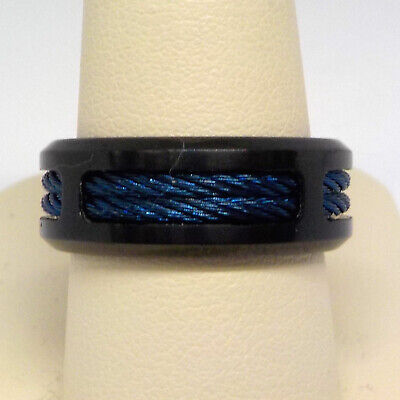 $25.46 • Buy Men's Stainless Steel Two Tone Black & Blue Cable 8mm Wedding Band  $159 At Kays
