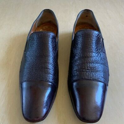 MORESCHI BORDEAUX TWO·MATERIAL LOAFERS SHOES Size EUR 44 UK 10 • 75£