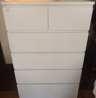 AU50 • Buy Ikea Malm Tall Boy - Chest Of 6 Drawers. White.