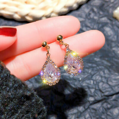 ❤️Earrings 9ct Gold Over Drops Pear ❤️ Diamond 25 Gift Mm UK FREE Post Silver❤️ • 6.99£