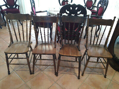 AU150 • Buy Antique  Spindle Back Wooden Chairs In Good Condition [set Of 4]
