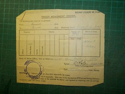 Rare World War 2 1945 Reme Troop Movement Order From Brussels To Tournai • 5.99£