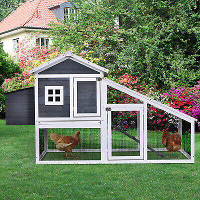 £146.99 • Buy PawHut Deluxe Wooden Chicken Coop Poultry House Cage With Nesting Box Grey