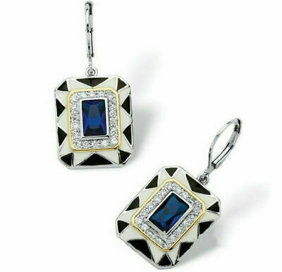 ❤️Earrings 9ct White Gold Over Blue ❤️ Sapphire Diamond Drops 35 Mm Silver ❤️ • 7.99£