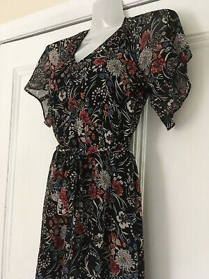 Warehouse Floral Lovely Chiffon Fully Lined Tea Dress Size 8 • 12.99£