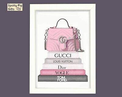 Fashion Print Wall Art Books Stack Handbag Picture Poster Home A3 A4 Framed Pink • 4.95£