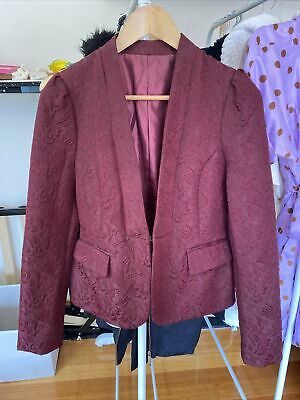 AU10 • Buy Zara Mango Maroon Embroidered Blazer Jacket Jacket Sz S M 8 10