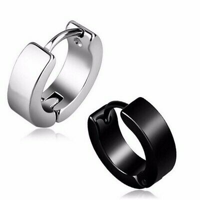 AU4.99 • Buy Pair 10mm Black Stainless Titanium Steel Punk Earrings Men Women Stud Piercing