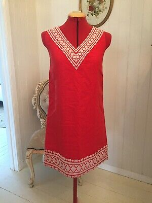 AU35 • Buy Kate Spade Red Linen Cotton Embroidery Dress Size 0