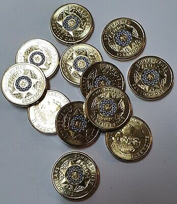 AU7.95 • Buy 2019 $2 Dollar Coloured Coin POLICE REMEMBRANCE - UNCIRCULATED From Roll