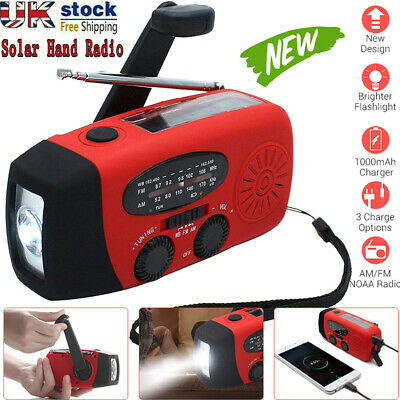 Hand Crank Dynamo Wind Up Solar Portable AM FM Radio USB Charger Light Torch Red • 14.99£
