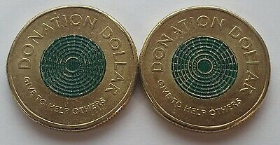 AU0.99 • Buy 2020 Donation Coin $1 Dollar Coloured Coin X 2 - Circulated