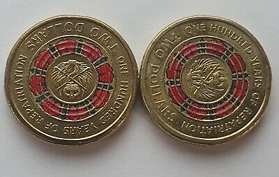 AU4.08 • Buy 2019 $2 Dollar Coloured Coin 100 YEARS OF REPATRIATION - Circulated X 2 Coins