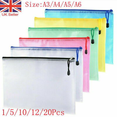 £4.99 • Buy A3/A4/A5 Plastic Zip File Bags Storage Document Folder Protective Wallet Pocket