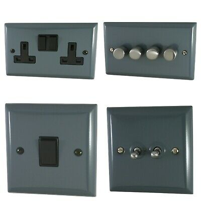 Spectrum Plate Dark Grey SDGB Light Switches, Plug Sockets, Dimmers, Cooker Fuse • 21.95£