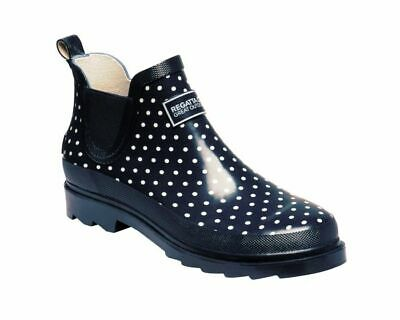 Womens Regatta Harper Slip On Clogs Ankle Wellington Boots Wellies Navy Polka • 23.95£