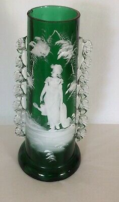 MARY GREGORY - Victorian Glass Large Vase - Enamelled - Girl & Watering Can • 29.99£